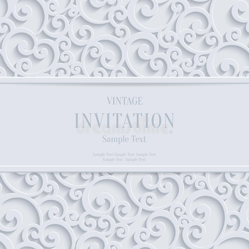 Vector White 3d Vintage Christmas or Invitation Cards Background with Swirl Damask Pattern. Floral Swirl Vector White 3d Christmas or Weddind Invitation Cards vector illustration