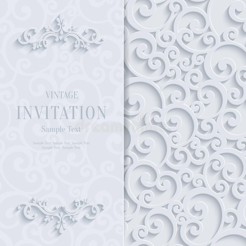 Vector white 3d vintage invitation card with swirl damask pattern download vector white 3d vintage invitation card with swirl damask pattern stock vector illustration of stopboris Image collections