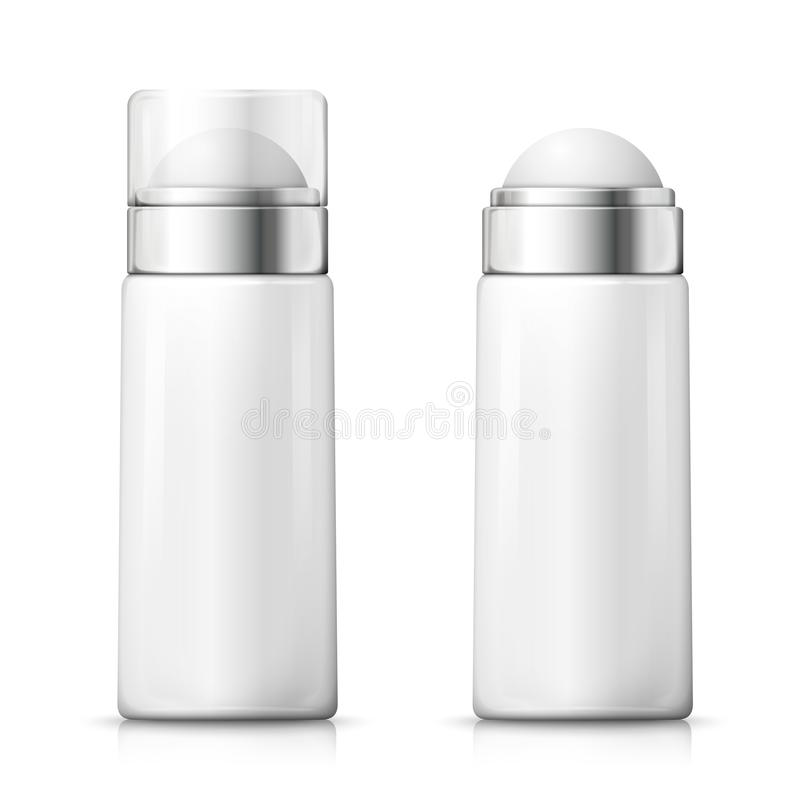 Vector white deodorant bottles with plastic cap. Vector 3d realistic white deodorant bottles with plastic transparent cap, open and closed. Mock-up for product stock illustration