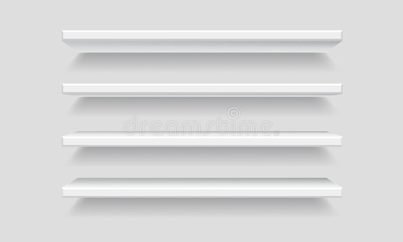 Vector White Empty Shelf Shelves on Wall Background royalty free illustration