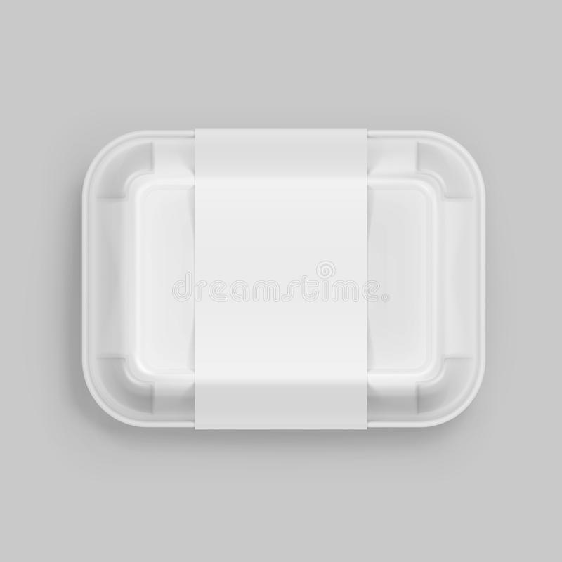 Vector White Fast Food Box Container Packaging Package Packing Pack on Background stock illustration