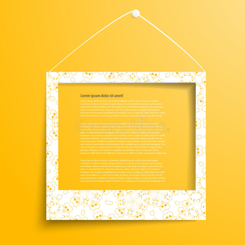Vector white frames on the yellow wall vector illustration