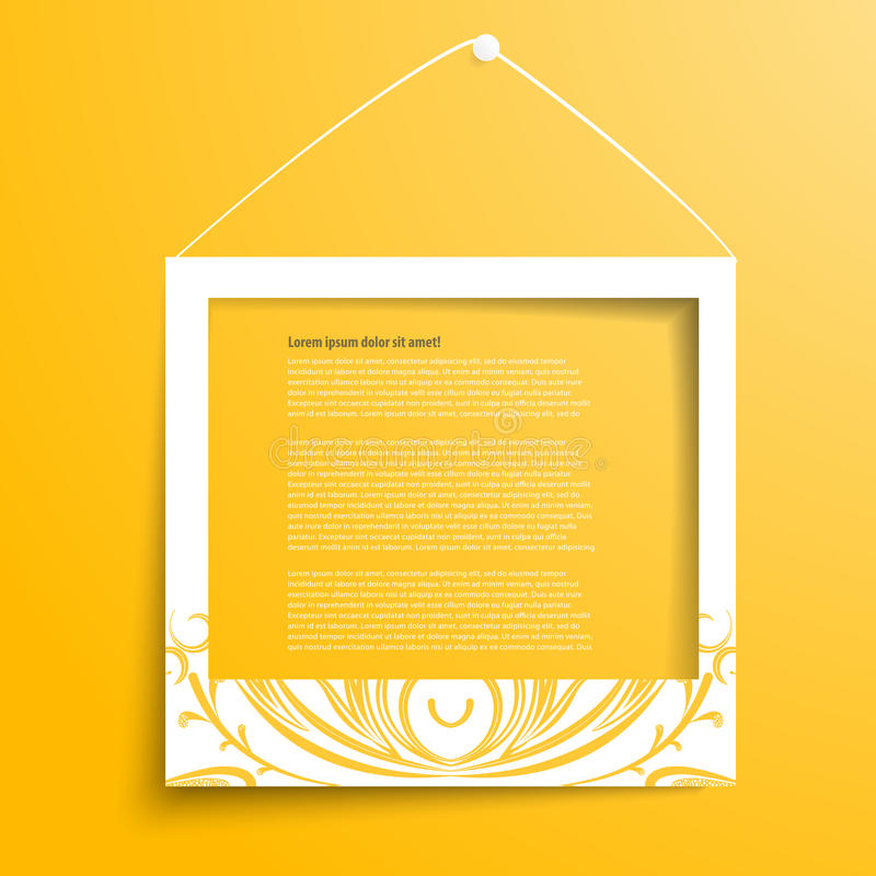 Vector white frames on the yellow wall stock illustration