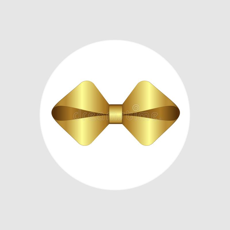 Vector White Gift Box with Shiny Golden Satin Bow and Ribbon Top View Close up. Present box. Concept for invitation, banners, gift cards, congratulation or vector illustration