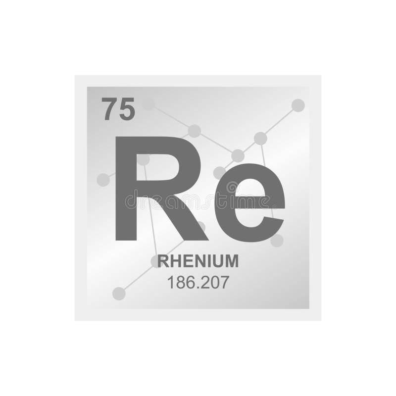 Vector chemical symbol of rhenium from the periodic table of the elements on the background from connected molecules. stock illustration