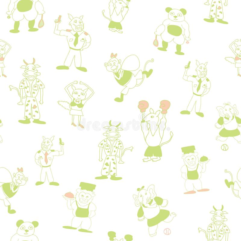 Vector white light green fun anthromorphic characters seamlesspattern background stock illustration