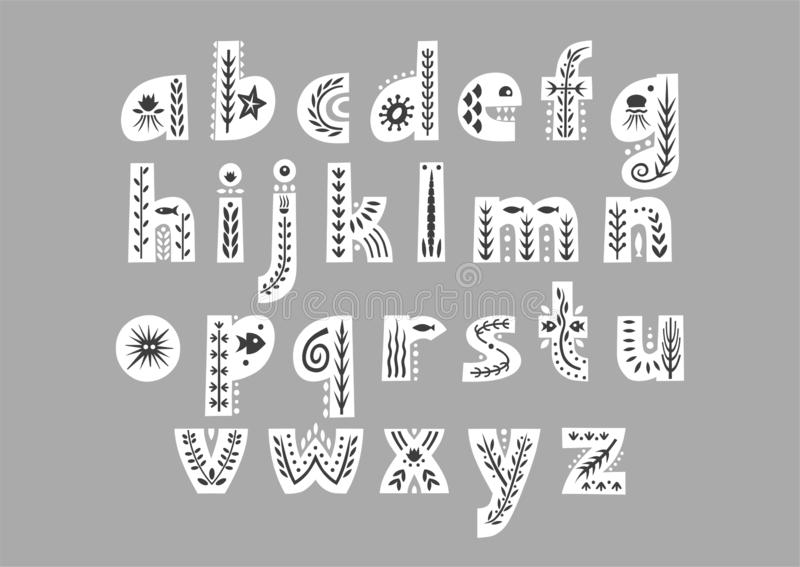 Vector white lowercase alphabet decorated with undersea black patterns royalty free illustration