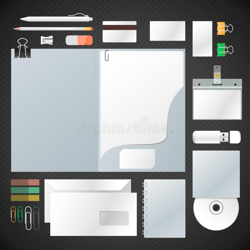 Vector white mock up corporate identity set with folder, letterhead, envelope, business card, plastic badge, compact disc,. Notebook, pen, pencil, sharpener stock illustration