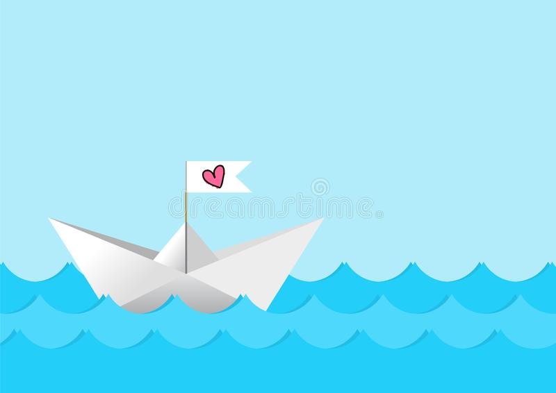 Vector white paper boat with pink hand drawn heart on the flag.  vector illustration
