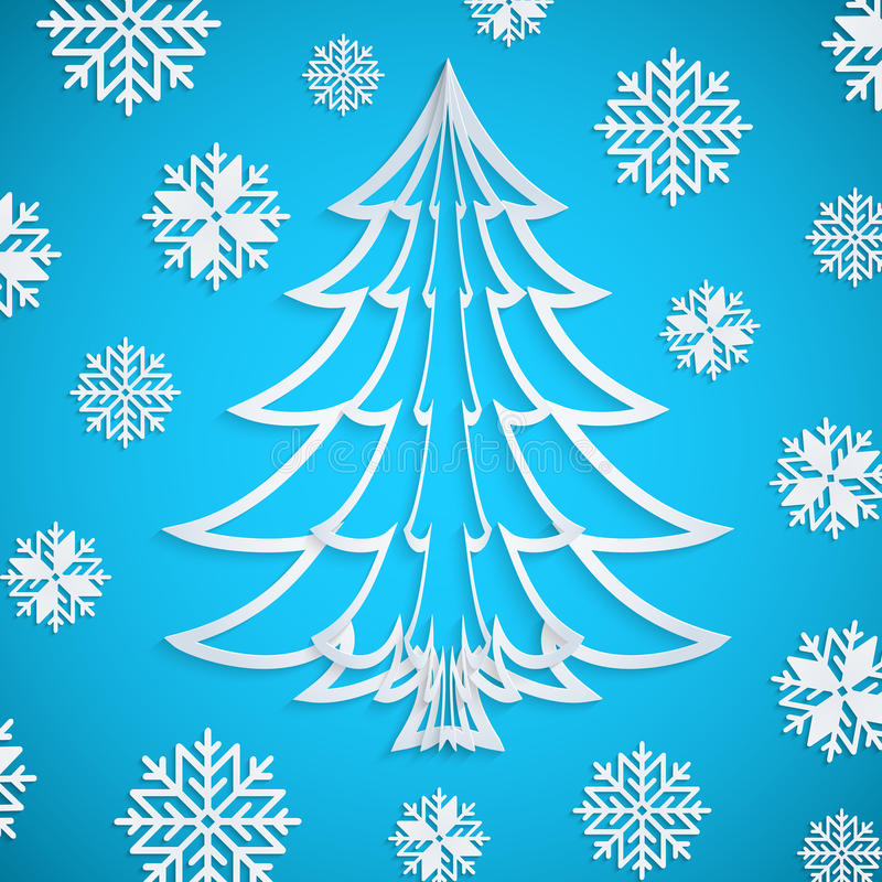 Vector white paper Christmas tree on the blue background with snowflakes royalty free illustration