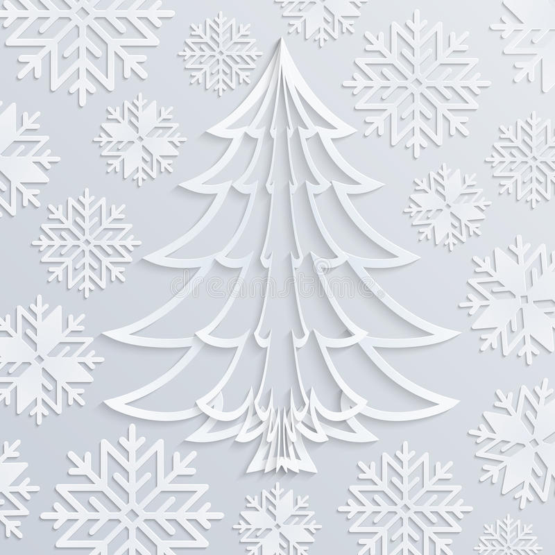 Vector white paper Christmas tree with snowflakes stock illustration
