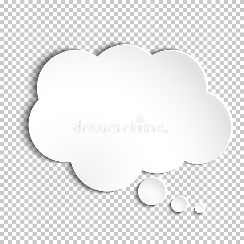 Vector white paper thought bubble. Infographic design white paper thought bubble on the checked background. Eps 10 file stock illustration
