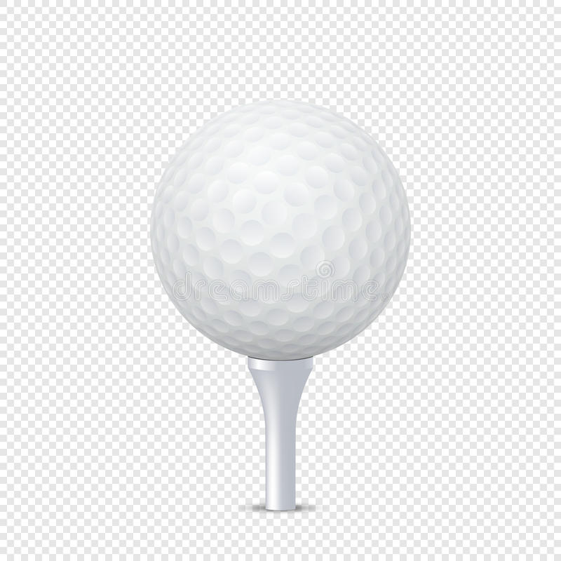 Vector white realistic golf ball template on tee - isolated. Design template in EPS10. royalty free illustration
