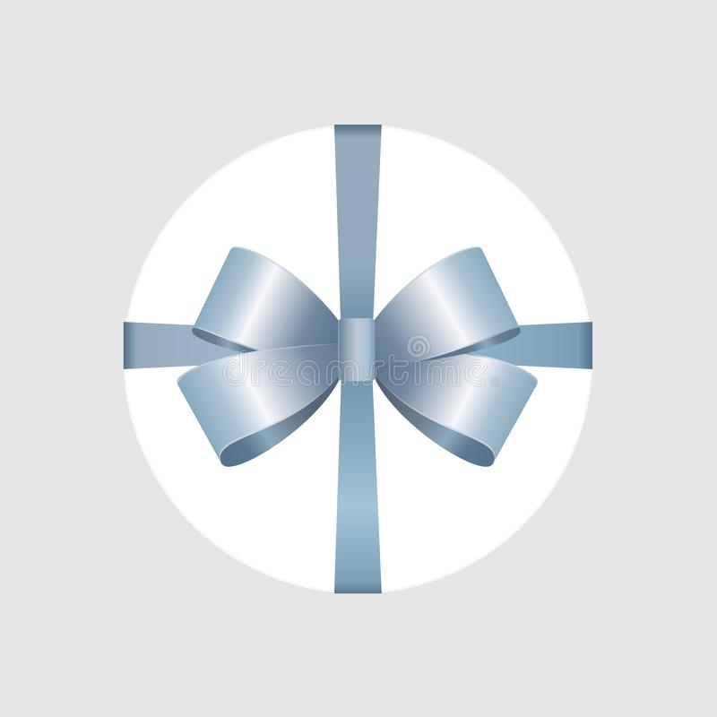 Vector White Round Gift Box with Shiny Blue Satin Bow and Ribbon Top View Close up. Isolated on Background vector illustration