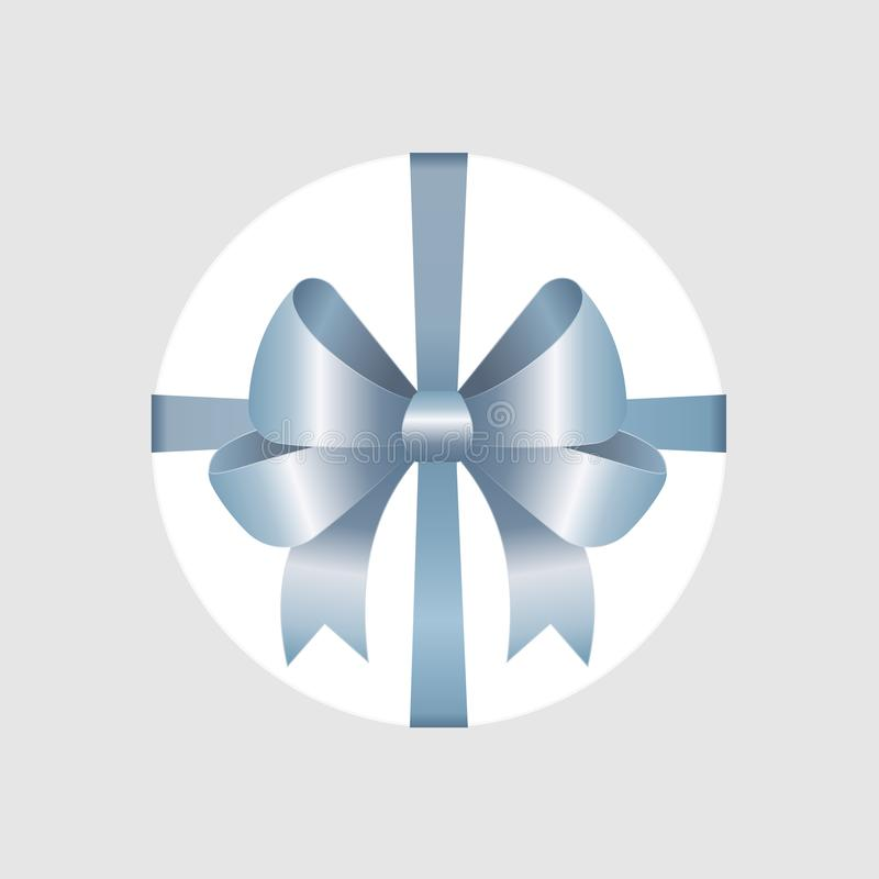 Vector White Round Gift Box with Shiny Blue Satin Bow and Ribbon Top View Close up. Isolated on Background stock illustration