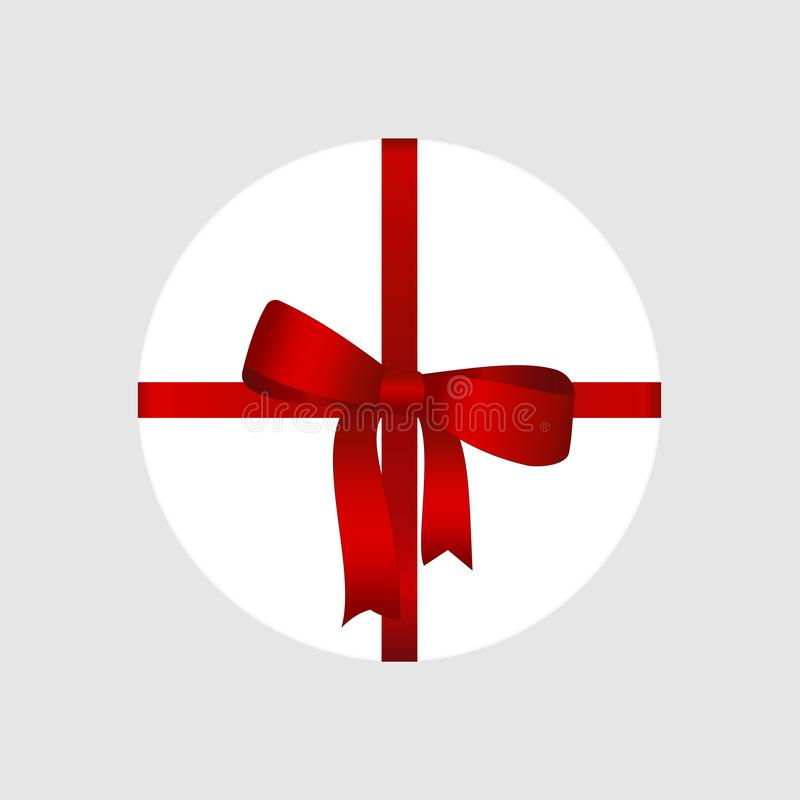 Vector White Round Gift Box with Shiny Red Satin Bow and Ribbon Top View Close up Isolated on Background. Concept for invitation, banners, gift cards stock illustration