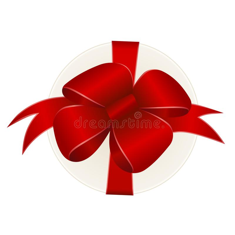 Vector White Round Gift Box with Shiny Red Satin Bow and Ribbon Top View Close up. On whiteBackground royalty free illustration