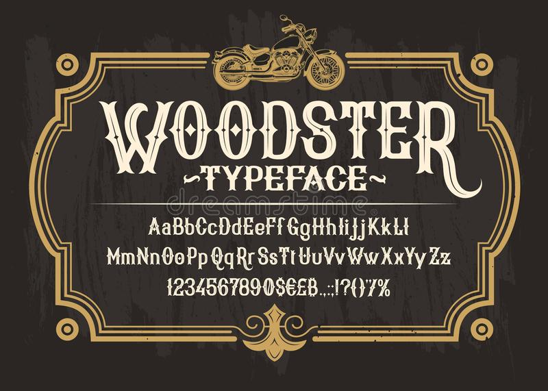 White serif font, alphabet, numbers and symbols. Vector white serif font, the Latin alphabet, numbers and symbols on a black background in a retro frame with a royalty free illustration