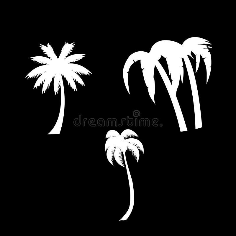 Palm trees icon set isolated on black background. stock illustration
