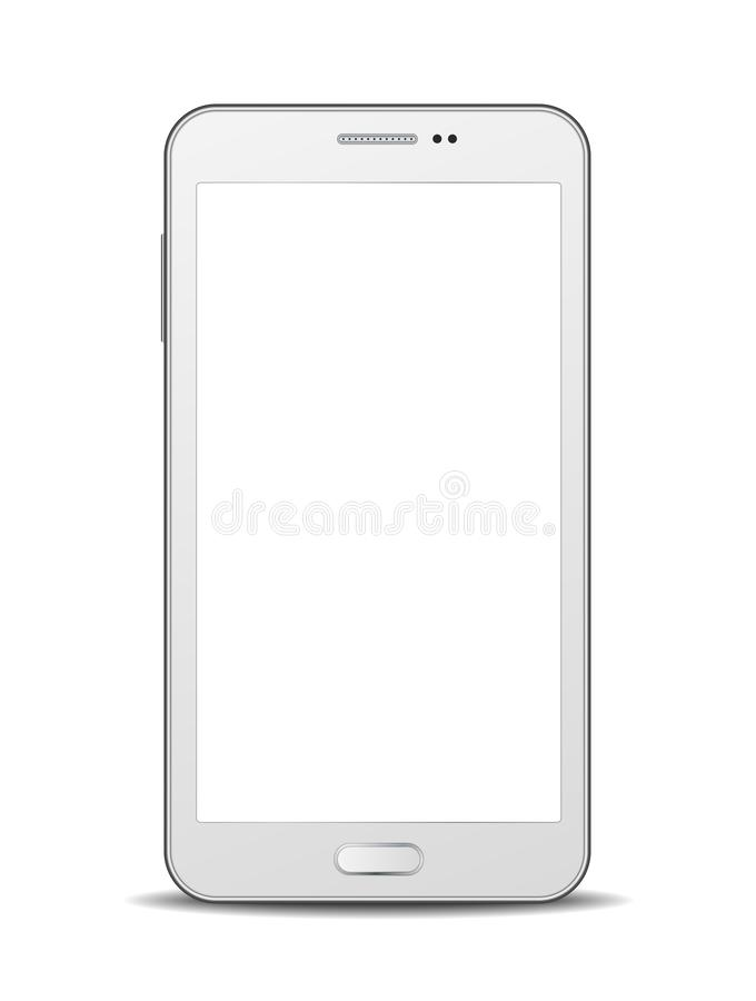 Vector white smartphone with blank display isolated on white background.  stock illustration