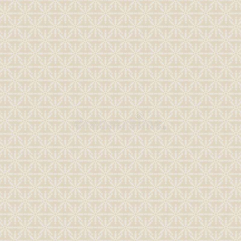 Vector White Snowflakes on Gold Background Seamless Repeat Patterat Tło wyrobów włókienniczych, kart, produkcji ilustracji