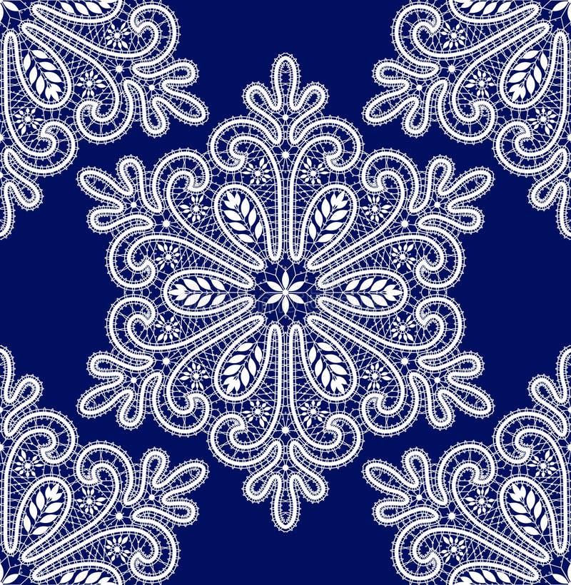 Vector White Snowflakes Lace Seamless Wzorzec ilustracji