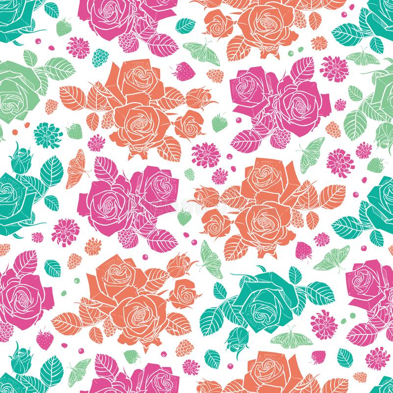 Vector white spaced out roses and berries seamless pattern. Colorful solid elements. Perfect for fabric, scrapbooking vector illustration