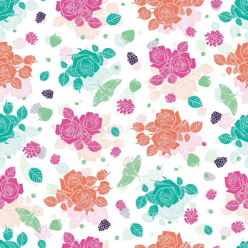 Vector white spaced out roses and berries seamless pattern. Colorful solid elements with slightly transparent layer stock illustration