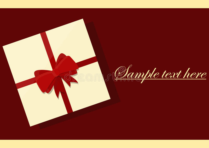 Vector White Square Gift Box with Shiny Red Bow and Ribbon Top View Close up Isolated. Vector White Square Gift Box with Shiny Red Satin Bow and Ribbon Top View royalty free illustration