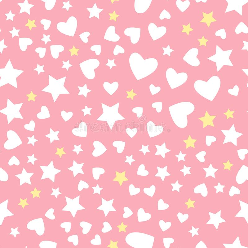 Vector star and heart seamless pattern Isolated on pink background. Vector white star and heart seamless pattern Isolated on pink background. Textile Design for stock illustration