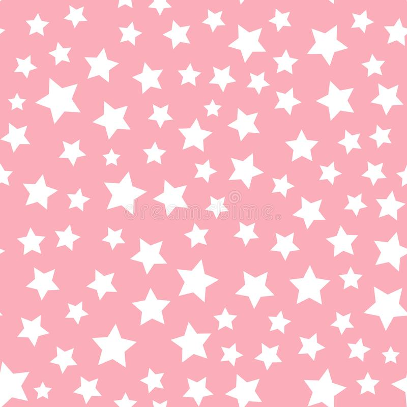 Vector white star seamless pattern Isolated on pink background. Textile Design for baby shower royalty free illustration