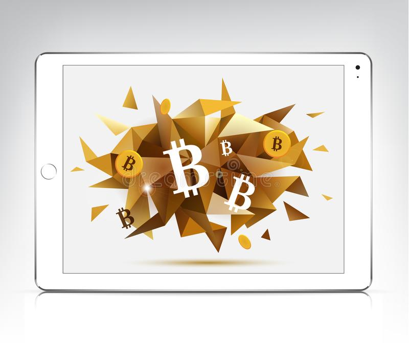 Vector white tablet with bitcoin, cryptocurrency faceted 3d banner. Realistic illustration royalty free illustration