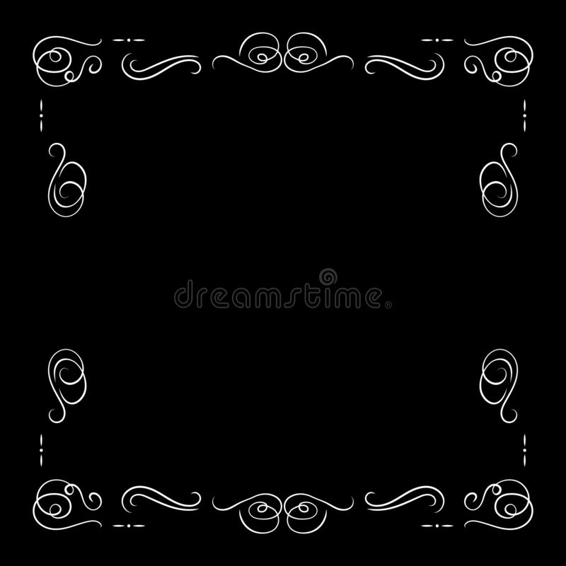 Vector White Vintage Frame Isolated, Blank Border Template, Retro Movie Decorative Element, Filigree Lines. stock illustration