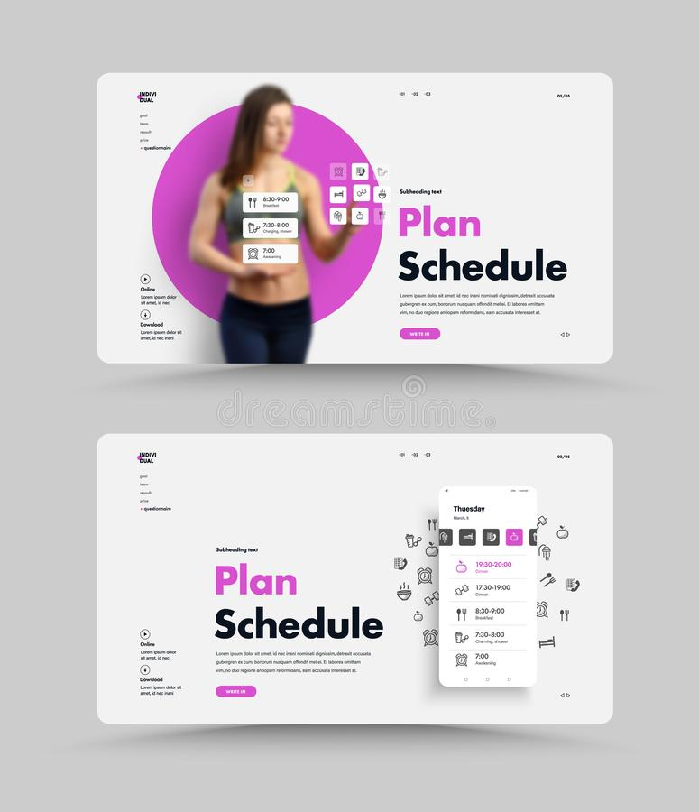 Vector white web page template for planning your daily routine. UI website design with mobile phone and application. Interactive interface vector illustration
