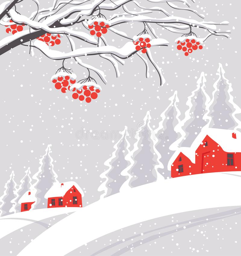 Winter landscape with snow-covered village. Vector white winter landscape with branches and bunches of rowan tree, with village and red houses on the snowing stock illustration
