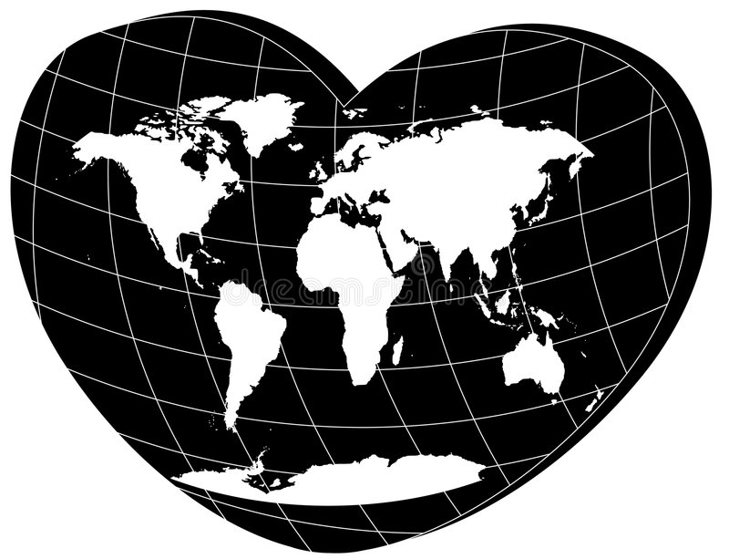 Download Vector White World Map In 3d Heart Stock Vector - Image: 7481041