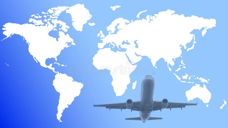 Vector white world map on gradient blue background with an airplane stock illustration