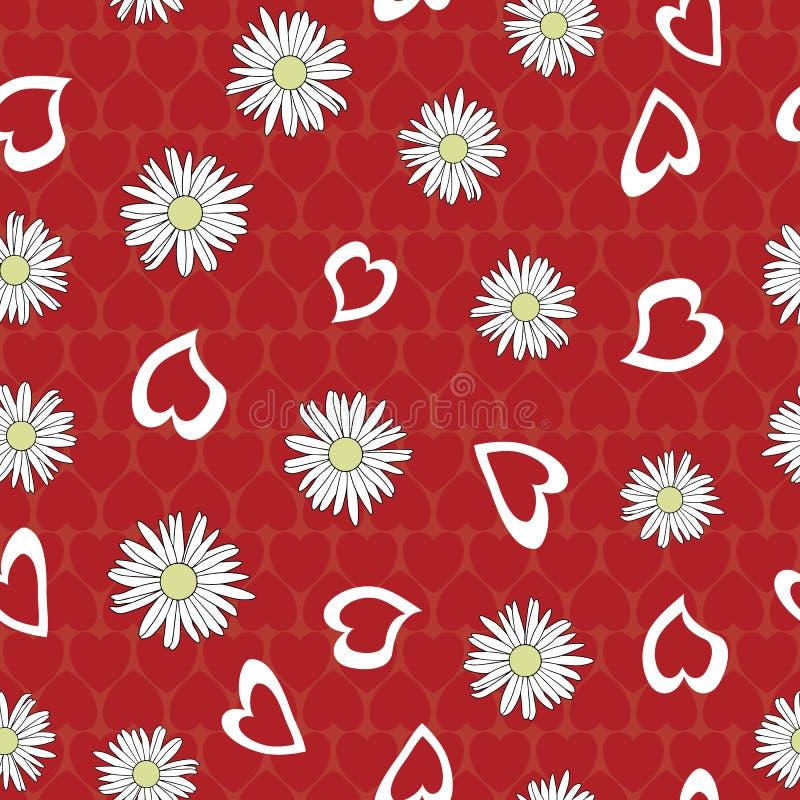 Vector White Yellow Daisy Flowers con Valentine Hearts sullo sfondo rosso Motivo di ripetizione senza saldatura Contesto per royalty illustrazione gratis