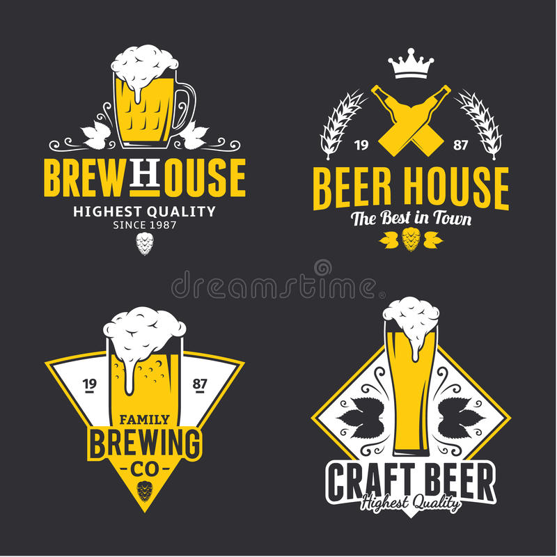 Vector white and yellow vintage beer logo, icons and design elem vector illustration