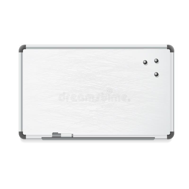 Vector whiteboard met teller en magneten vector illustratie