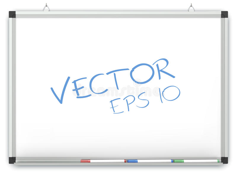 Vector Whiteboard. Whiteboard on wall with Marker Pens. Copy space. Vector EPS10 vector illustration