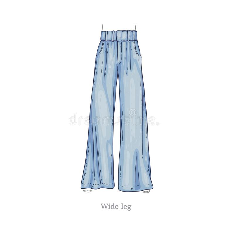 Vector wide leg style jeans, female denim pants. Vector wide leg style blue jeans. Denim female pants sketch icon. Casual fashion trousers, trendy garment for royalty free illustration