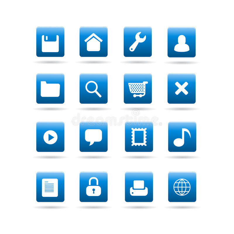 Vector widget desktop icons. Vector glossy icons with widget tools symbols, for desktop or web site use, set features save, settings, home, user, folder, search vector illustration
