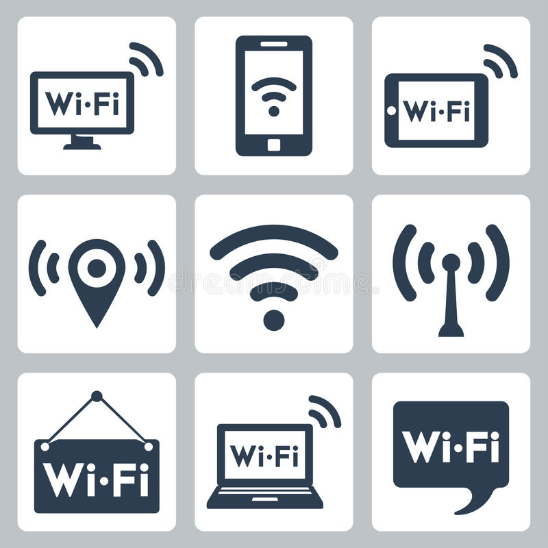 Vector wifi icons set. Computer and smartphone, tablet pc, pointer, hotspot, signboard, laptop, speech bubble