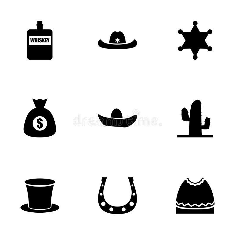 Vector wild west icon set royalty free illustration