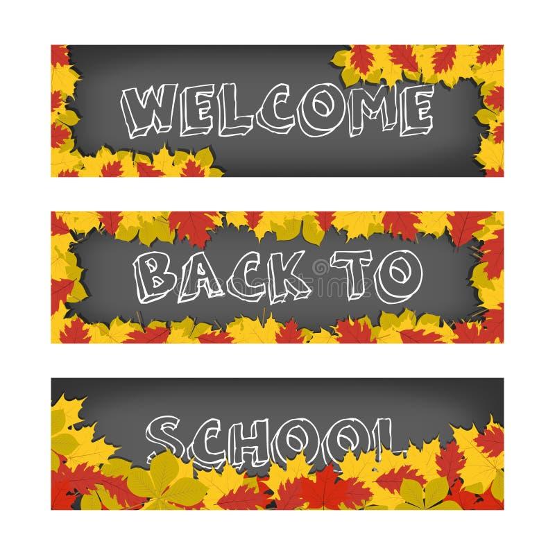 Vector Willkommen zurück zu Schulfahnen mit Herbstlaub für die Werbung und die Verkäufe Getrennt auf weißem Hintergrund stock abbildung