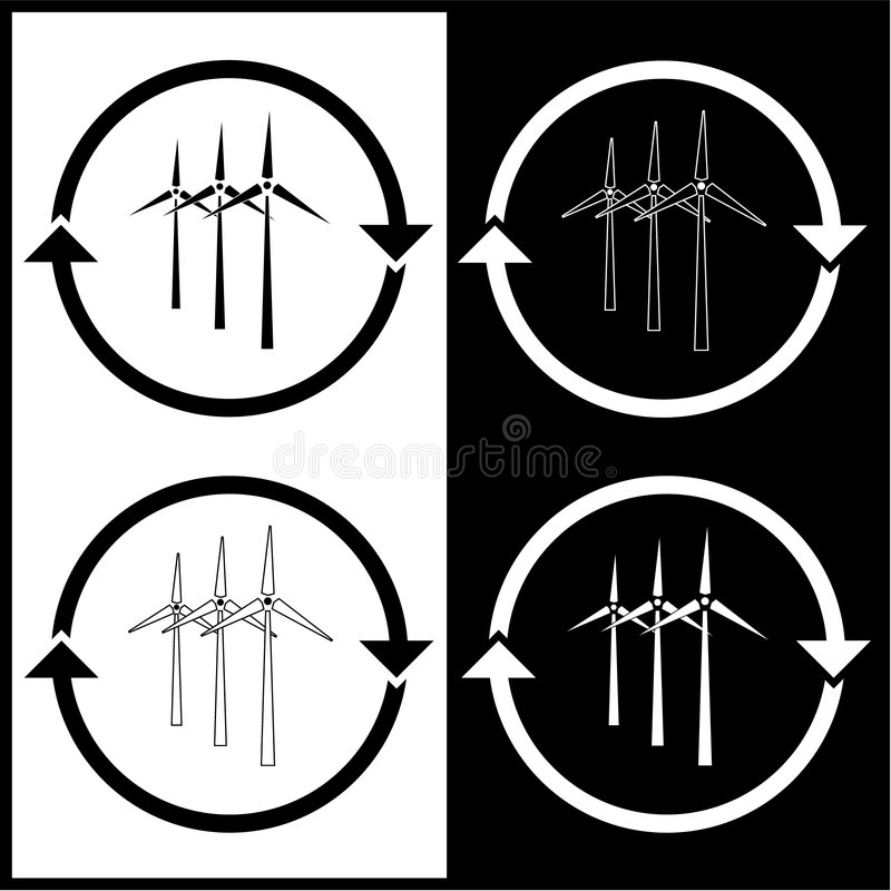 Vector wind turbine icons vector illustration