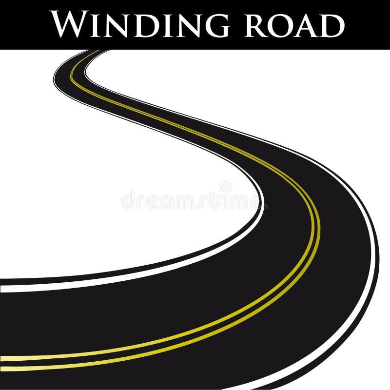 Vector winding road. Winding black road - vector illustration vector illustration