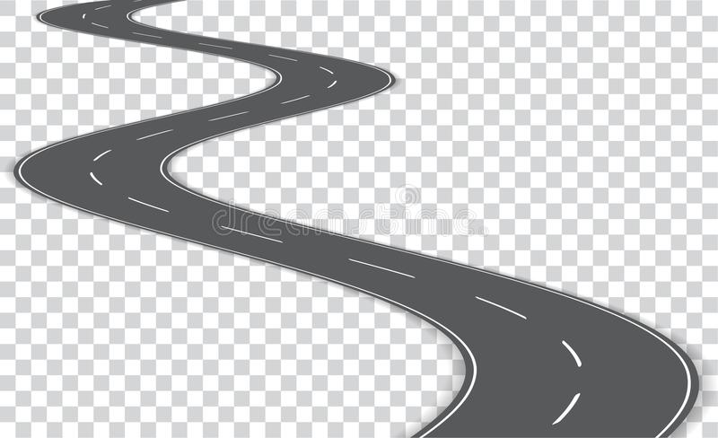 Vector winding road on transparent background. Vector E. PS 10 royalty free illustration