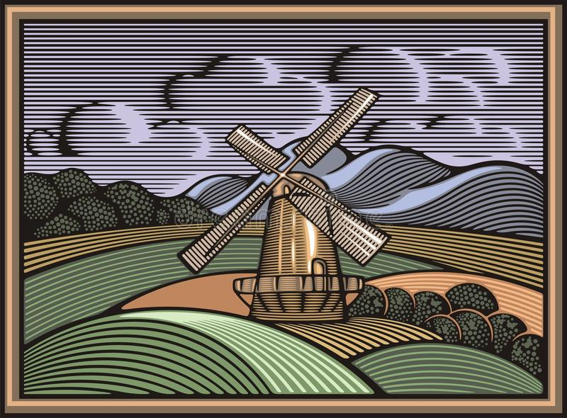 Download Vector Windmill Illustration In Woodcut Style. Organic Farming. Stock Vector - Illustration of field, scenery: 51785889